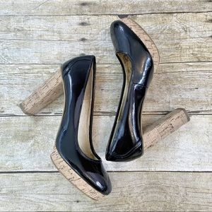 Michael Kors Black Patent Leather Block Heels 7.5
